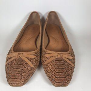 Born Crocodile snakeskin cork flats bow 11 comfort